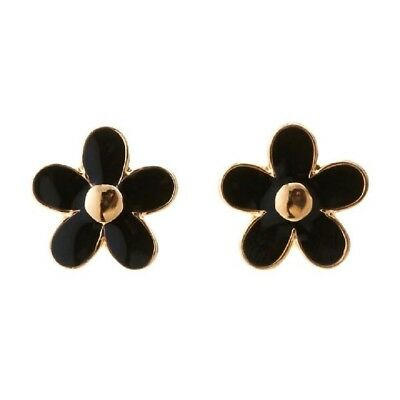 Marc By Jacobs Gold Tone Black Daisy Stud Earrings