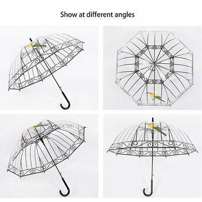 Transparent Umbrella Long-handle Bird In The Cage For Sunny And Rainy Days AUJ