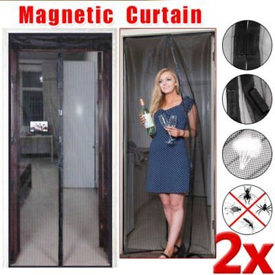 OZ Magnetic Door Curtain 2x Black Fly Screen Magic Magna Mosquito Bug Mesh I5J