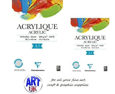 Clairefontaine Artists ACRYLIC Paper Painting Pad A4/3 360gsm Gummed 10 sheets