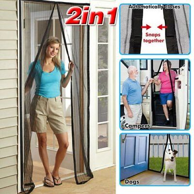 OZ Magnetic Door Curtain 2x Black Fly Screen Magic Magna Mosquito Bug Mesh B1