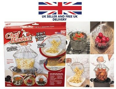 Stainless Steel Anti-hot Chef Basket Home Kitchen Supplies Silver UK SELLER NEW