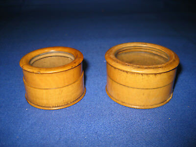 Antique Victorian Small Treen Boxwood Round Box With Glass Lid