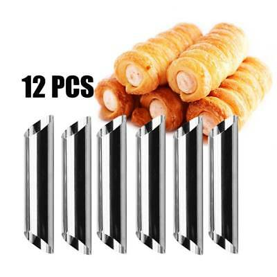 12pcs Stainless Steel Spiral Baked Mold Croissants Bread DIY Horn Pastry Tools