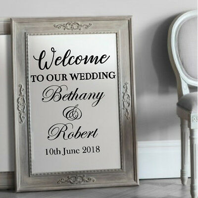 Personalised Custom Wedding Mirror Frame Venue Event Decor Sticker Vinyl Decal