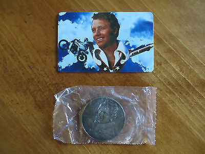 Evel Knievel Collectible Calling Card & 1972 Bronze Coin From Snake River Canyon
