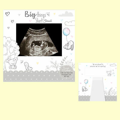 Pack of 2 Baby Scan Gender Reveal Pregnancy Announcement Cards Silver