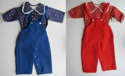 Childrens vintage dungarees & blouses girls 60's 70's red blue floral NWT age 1-