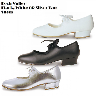 Black, White, Silver Girls Low Heel Toe Tap Shoe Roch Valley