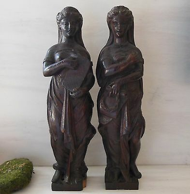 2 Antique French carved wood STATUE Brackets Architectural decor