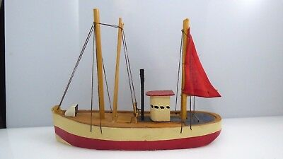 Vintage Wooden Sailboat Boat Ship Hand Crafted Republic China Nautical Decor