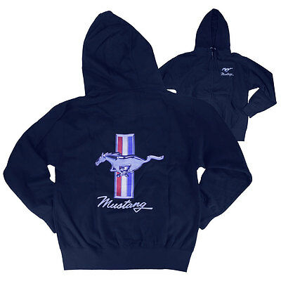 Apparel Hoodie Zip-Up Blue With Tri-Bar Running Horse Logo Medium