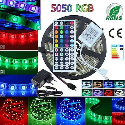 RGB LED Light Strip waterproof 5050 SMD Flexible 44keys Remote Power 5M 10M 20M