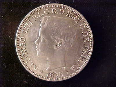 Puerto Rico One Peso 1895 Au, Lustrous, Lightly Cleaned At One Time-Reduced