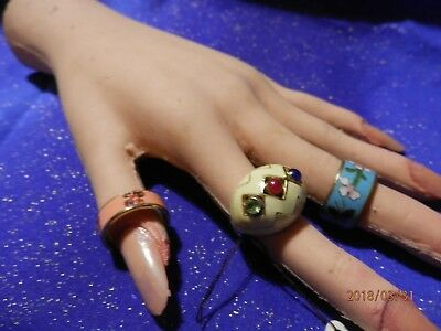 Three Cloisonne Type Fashion Rings