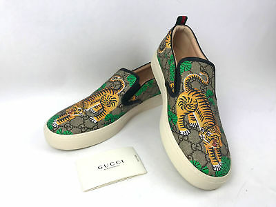 609d0065bc1 Gucci Men s GG Supreme Canvas Bengal Tiger Slip On Sneakers Size 11 G  US 12
