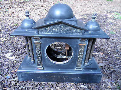 Vintage Hamburg American Clock Co - SLATE AND MARBLE - FOR RESTORATION ONLY!