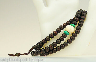 "Prayer Chain Turquoise Rosewood "" Best Quality "" Necklace Turquoise Buddha 49i"