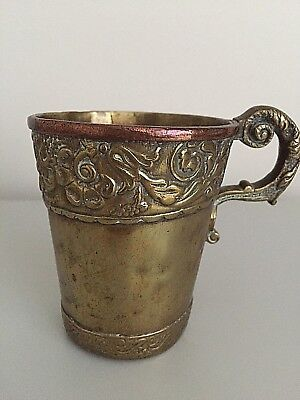 Hand Made Ancient Brass and Copper Tavern Cup Antique