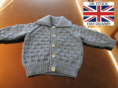 NEW COLLARED CARDIGAN 6-9 Months Boys DARK BLUE D.K FREE DELIVERY 🇬🇧