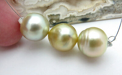 3PC AA+ SOUTH SEA MYANMAR GOLD PISTACHIO IRIDESCENT CULTURED 12.3-12.7mm PEARLS