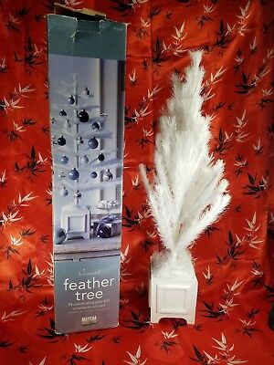 """Martha Stewart 24"""" WHITE Feather Christmas Tree Winter Collection Missing Bulbs"""