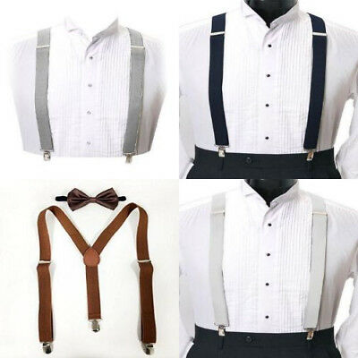Adjustable Solid Y-Back and X-Back Style Clip On Suspenders For Men