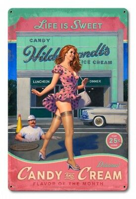 Candy and Cream Pin Up Pin-Up Metal Sign Greg Hildebrandt