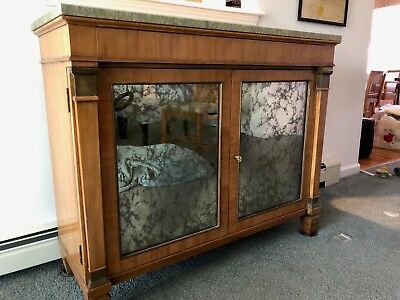 MID-CENTURY KITTINGER of Buffalo NY  BUFFET CABINET WITH MARBLE TOP
