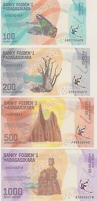 Madagascar, Set-4 Notes 100;200;500;1000 Ariary, 2017, P-New, New Design,  Unc