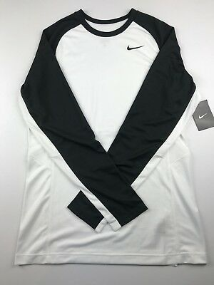 Nike Womens Size Medium Dri-Fit Long Sleeve White Black Shirt Athletic Top $60