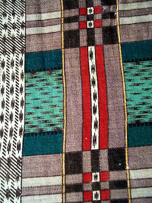 Antique cotton quilt fabric remnant 1800's exquisite southwest colors, vintage!
