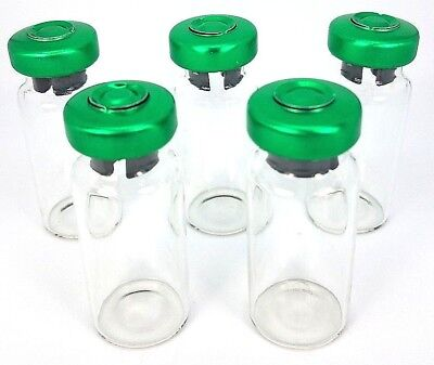 (10) 10mL Sterile Clear Glass Vials USP FDA 10 Pack - Green Seals