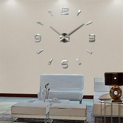 Mode DIY 3D Large Mirror Surface Wall Clock Sticker Office Decor NEU