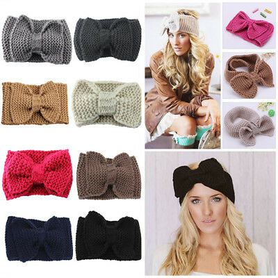 Women Ladies Girls Winter Crochet Knitted Big Bow Turban Headband Hair Head Band