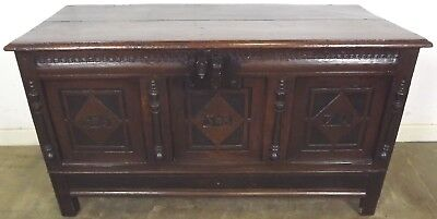 ANTIQUE C17th OAK COFFER BLANKET BOX TRUNK WITH CARVING CANDLE BOX & SPRUNG LOCK