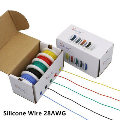 100m 28AWG Flexible Silicone Wire Cable 10 color Mix box package insulated