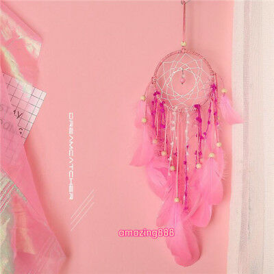 lovely girl pink feathers dream catcher girl bedroom window decoration pendant
