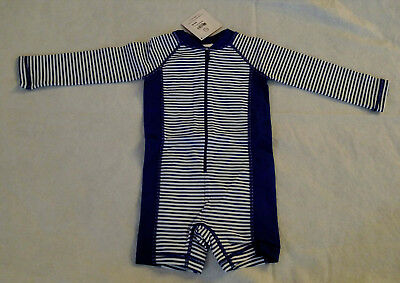 NWT Hanna Andersson Swimmy Rash Guard Striped 1PC Swimsuit 80 18-24M Baby Boy