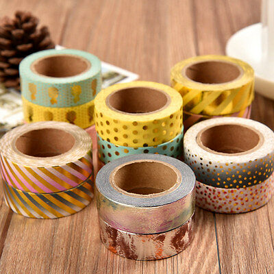 10M Metallic Gold DIY Washi Paper Masking Tape Polka Dot Craft Adhesive Sticker