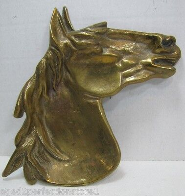 Vintage HORSE HEAD Brass Figural Tray CONRAD Pa Trinket Tip Coin Card Jewelry