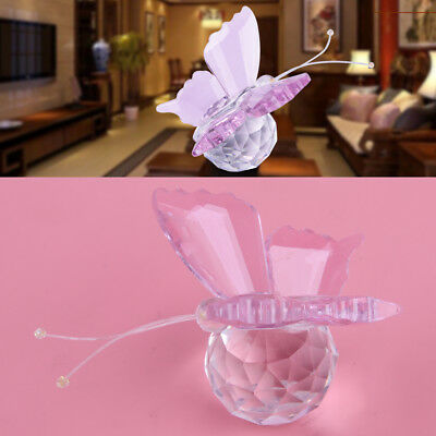 Pink Crystal Butterfly Paperweight Cut Glass Wedding Favor Collectibles Gift DIY