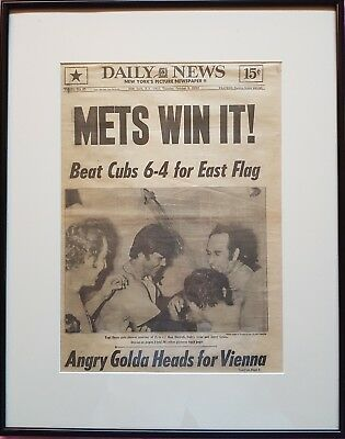 'METS WIN IT' - Original October 1973 newspaper reporting METS win over CUBS