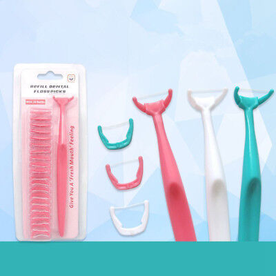 Dental Floss Handle Holder Disposable Heads Oral Cleaner Tooth Health Care AU