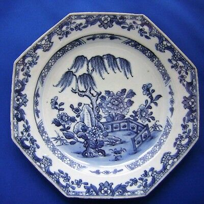 ANTIQUE CHINESE  PORCELAIN  BLUE & WHITE  PLATE  - 18th Century .