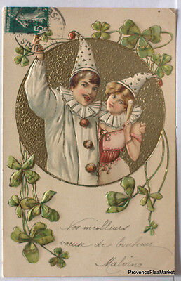 fa05 FRANCE CPA embossed relief gauffree Frere et soeur brother sister