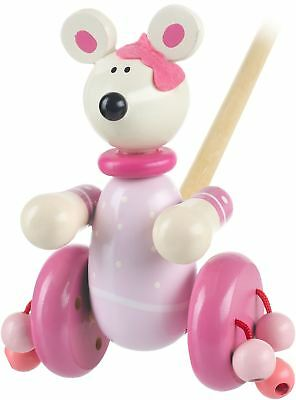 Orange Tree Toys Push Along Wooden Toy - Pink Mouse