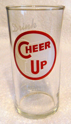 Vintage Cheer Up Soda Fountain Glass