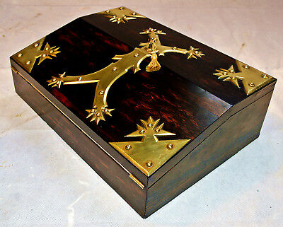 A Victorian Brass Mounted fitted Coromandel Writing Slope with Bramah style Key