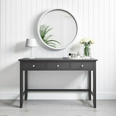 Grey Dressing Table 3 Drawer Solid Wood Modern Bedroom Vanity Console
